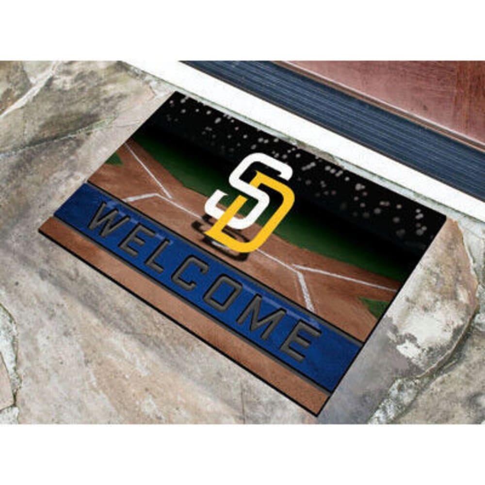 FAN MATS San Diego Padres Crumb Rubber Door Mat, Black/Blue ONE SIZE