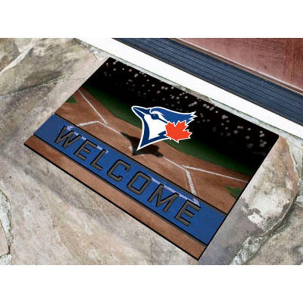 FAN MATS Toronto Blue Jays Crumb Rubber Door Mat, Black/Blue - BLACK/BLUE