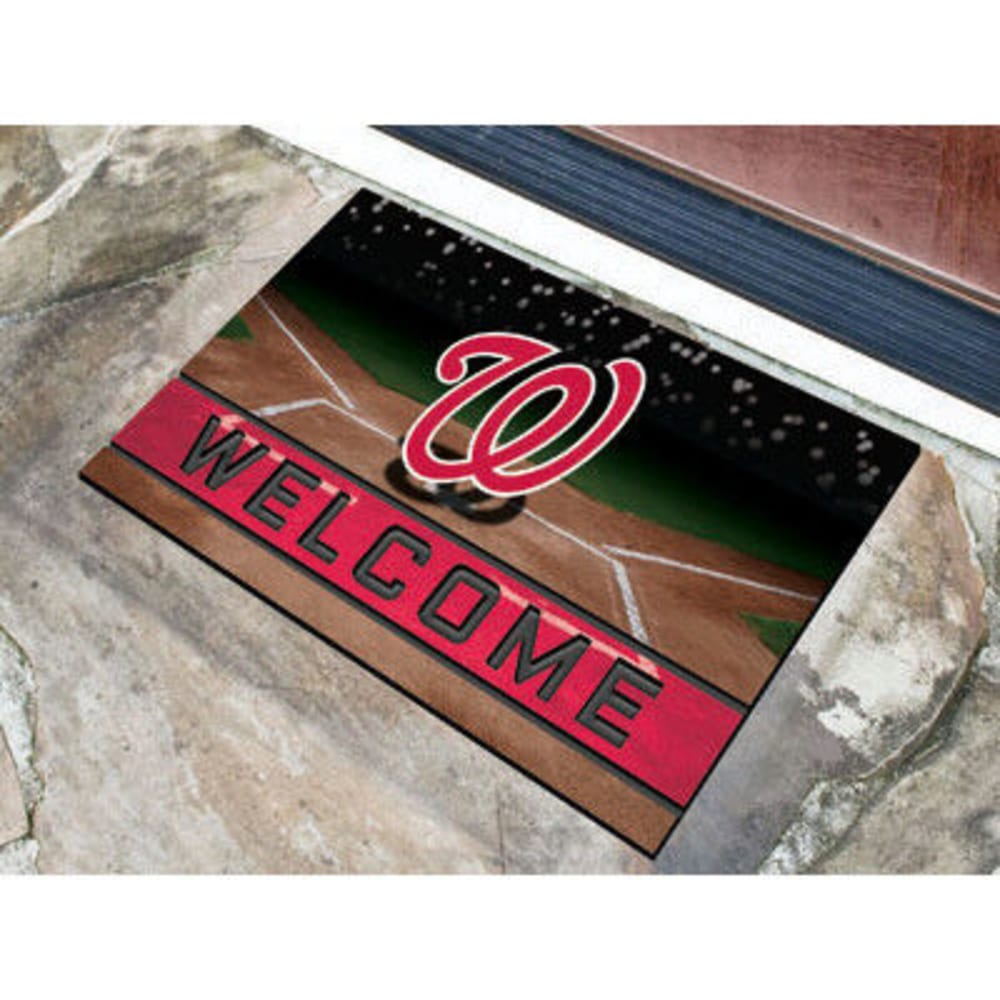 FAN MATS Washington Nationals Crumb Rubber Door Mat, Black/Red ONE SIZE
