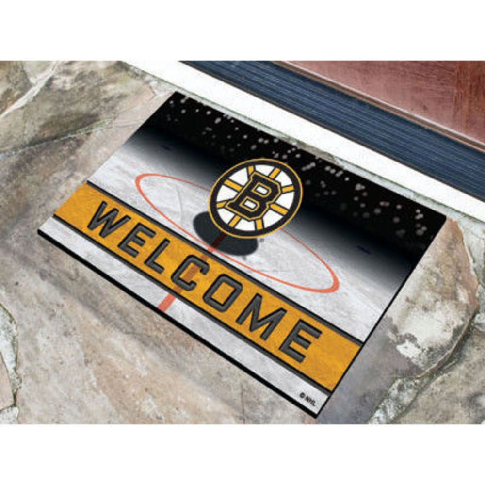 FAN MATS Boston Bruins Crumb Rubber Door Mat, Black/Gold - BLACK/GOLD