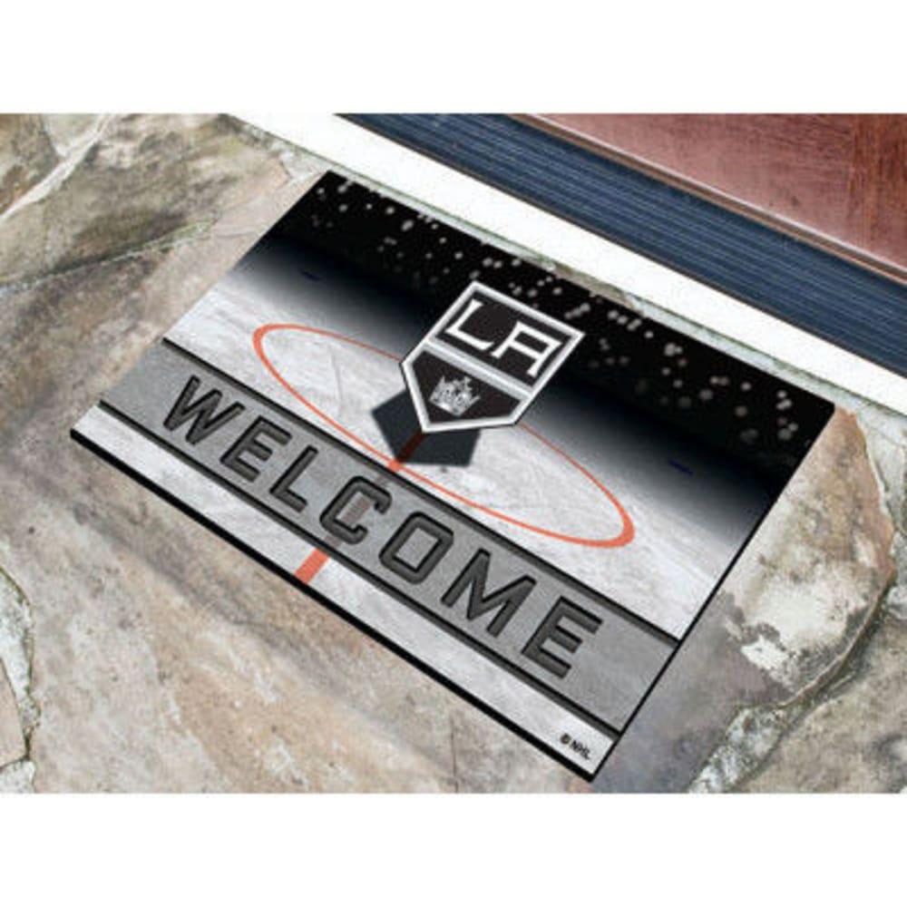 FAN MATS Los Angeles Kings Crumb Rubber Door Mat, Black/White - BLACK/WHITE