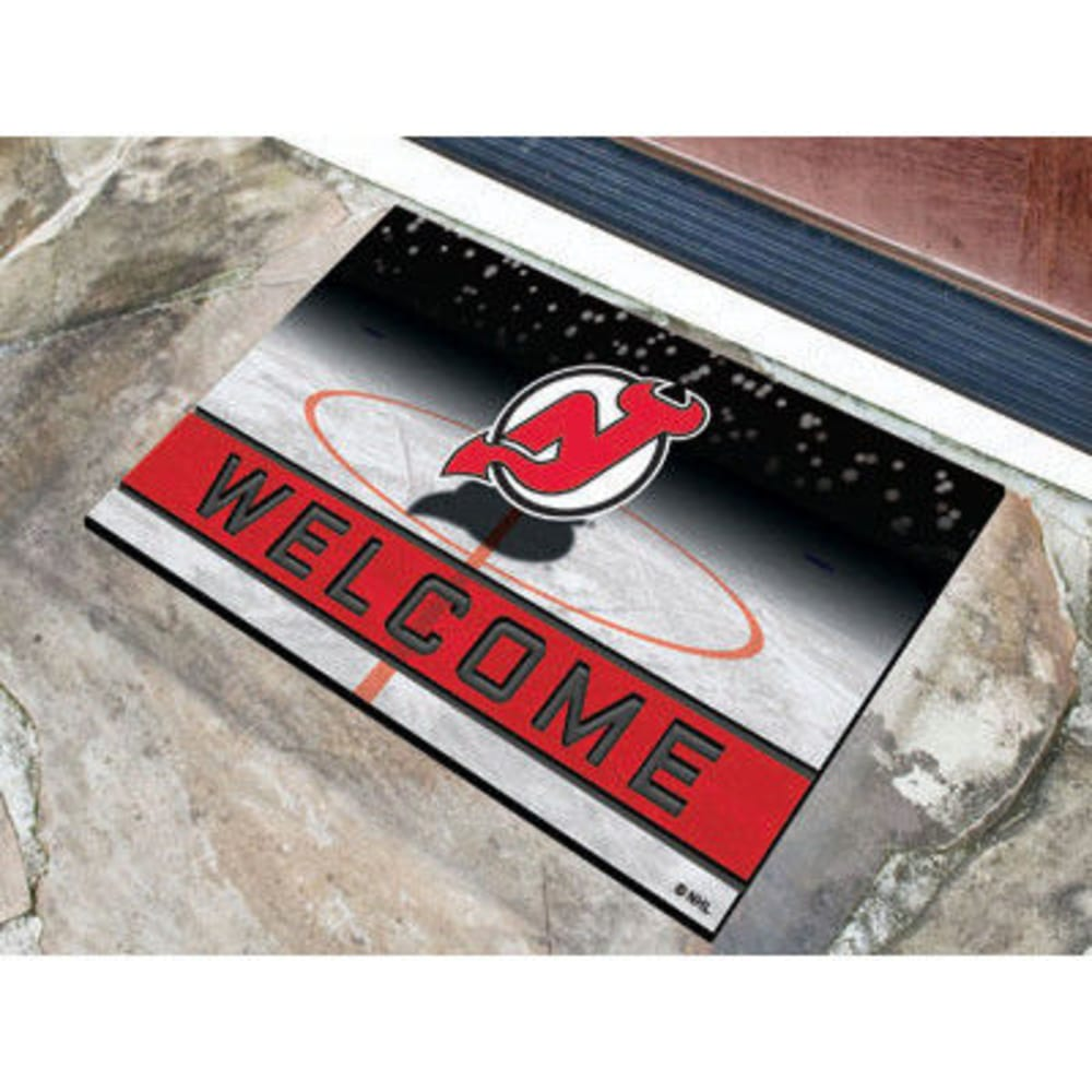 FAN MATS New Jersey Devils Crumb Rubber Door Mat, Black/Red - BLACK/RED