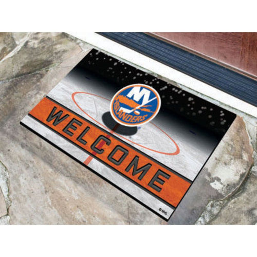 FAN MATS New York Islanders Crumb Rubber Door Mat, Black/Orange - BLACK/ORANGE