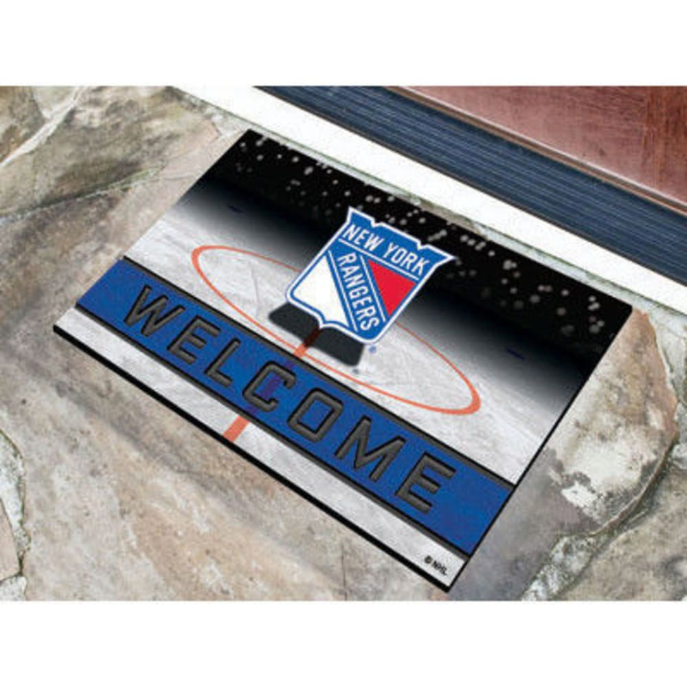 FAN MATS New York Rangers Crumb Rubber Door Mat, Black/Blue - BLACK/BLUE