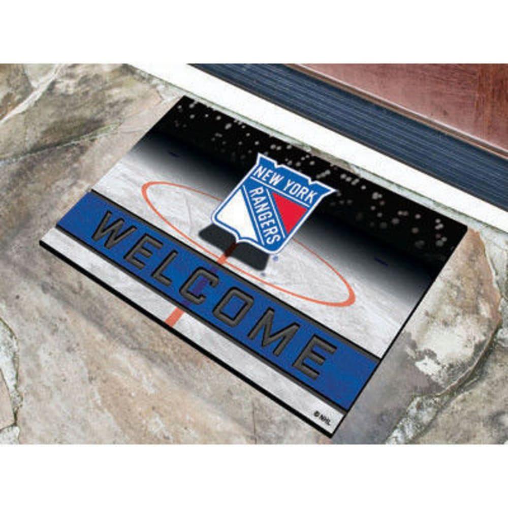FAN MATS New York Rangers Crumb Rubber Door Mat, Black/Blue ONE SIZE