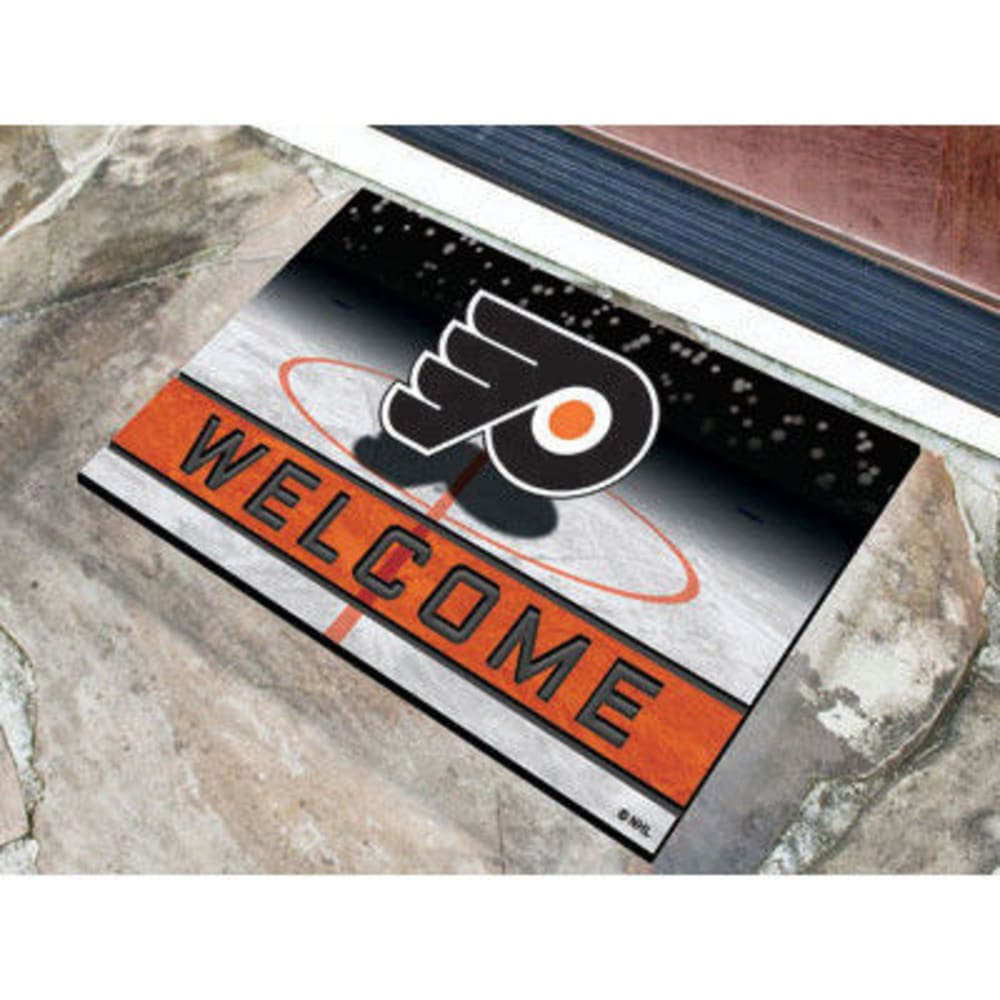 Fan Mats Philadelphia Flyers Crumb Rubber Door Mat, Black/orange