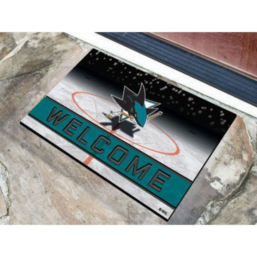 Fan Mats San Jose Sharks Crumb Rubber Door Mat, Black