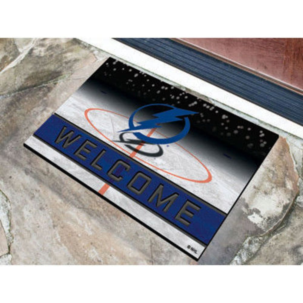 Fan Mats Tampa Bay Lightning Crumb Rubber Door Mat, Black/dark Blue