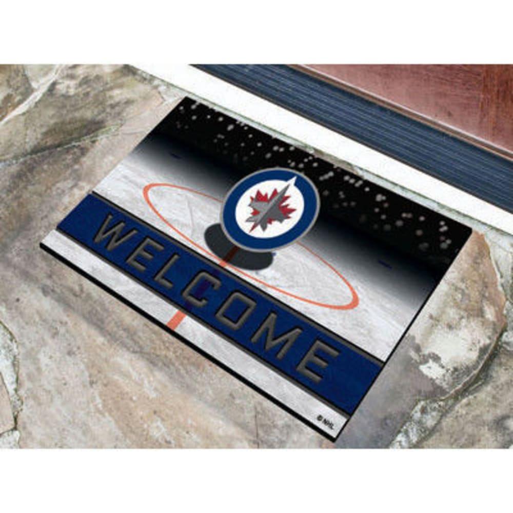 FAN MATS Winnipeg Jets Crumb Rubber Door Mat, Black/Blue - BLACK/BLUE