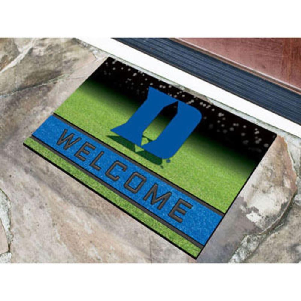 FAN MATS Duke University Crumb Rubber Door Mat, Black/Blue - BLACK/BLUE