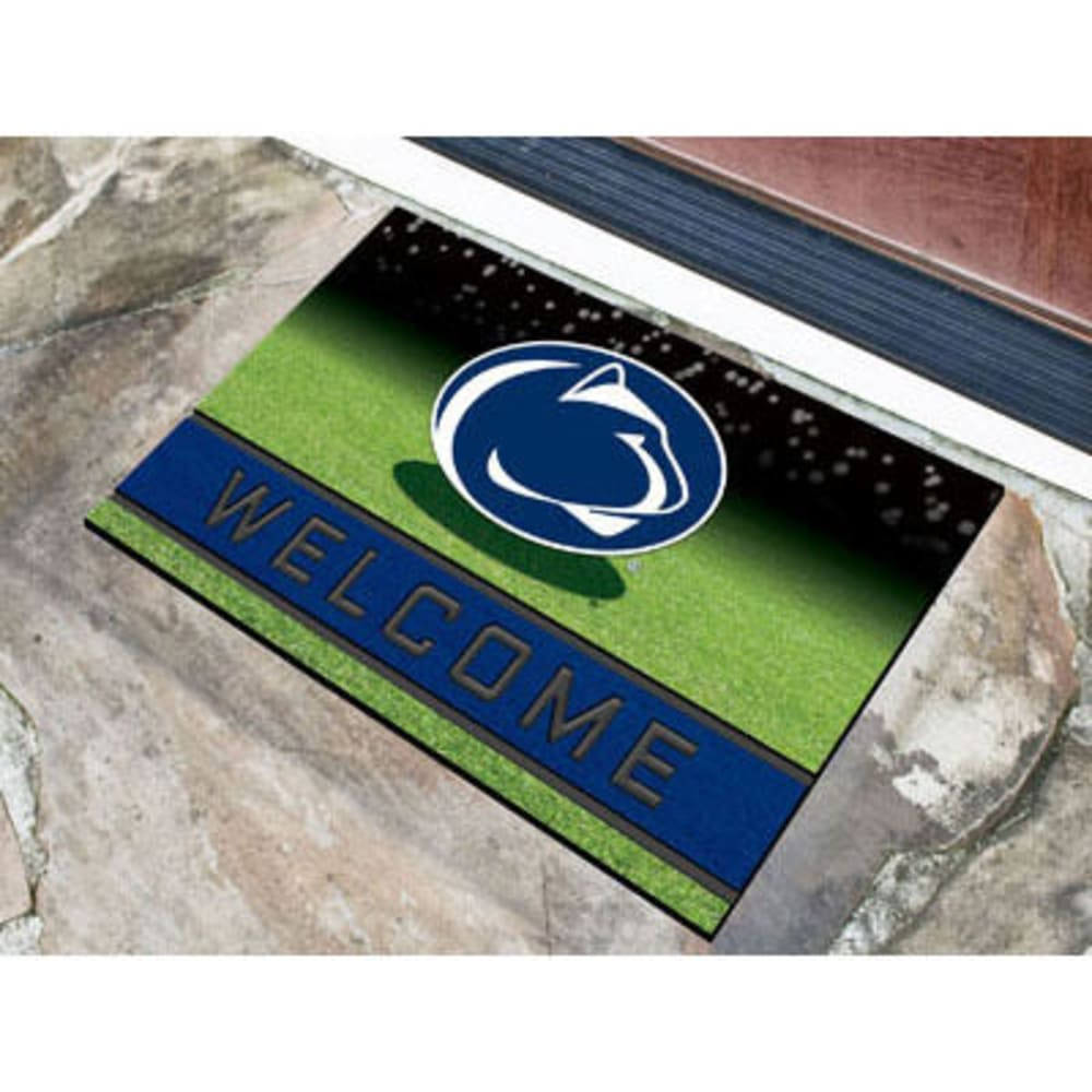 FAN MATS Penn State Crumb Rubber Door Mat, Black/Blue - BLACK/BLUE