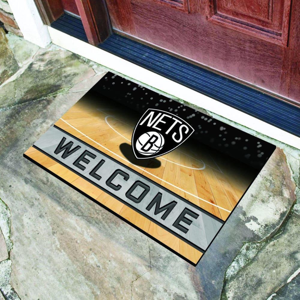 FAN MATS Brooklyn Nets Crumb Rubber Door Mat, Black - BLACK