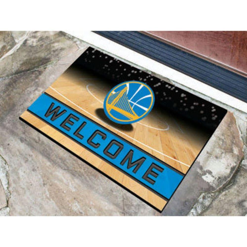 FAN MATS Golden State Warriors Crumb Rubber Door Mat, Black/Blue - BLACK/BLUE