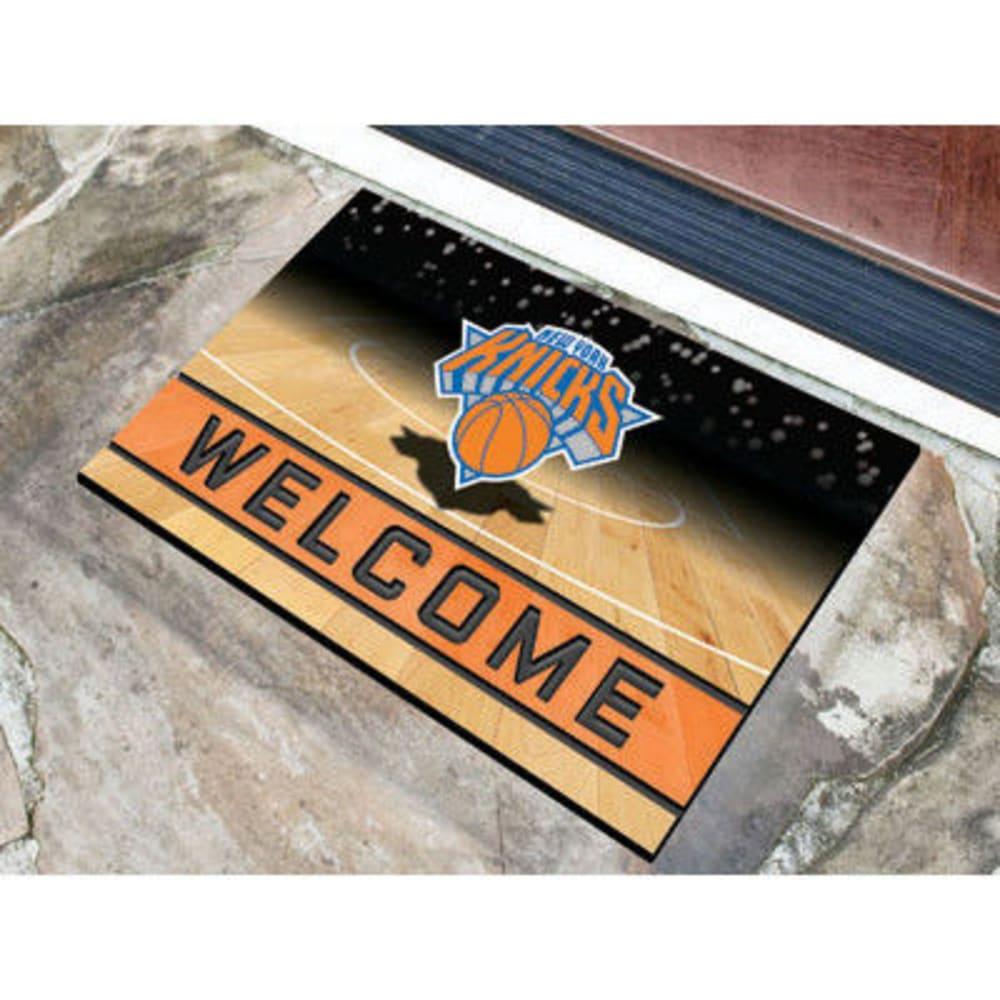 FAN MATS New York Knicks Crumb Rubber Door Mat, Black/Orange - BLACK/ORANGE