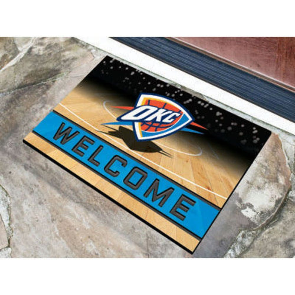 Fan Mats Oklahoma City Thunder Crumb Rubber Door Mat, Black/blue