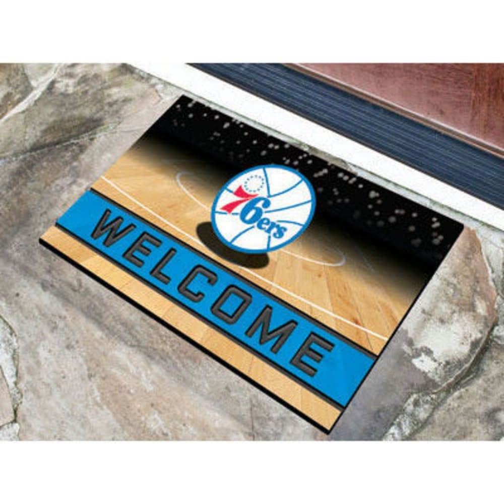 Fan Mats Philadelphia 76Ers Crumb Rubber Door Mat, Black/blue