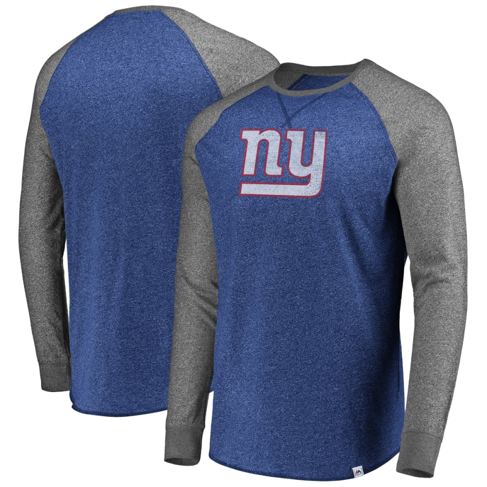 NEW YORK GIANTS Men's Static Raglan Long-Sleeve Tee M