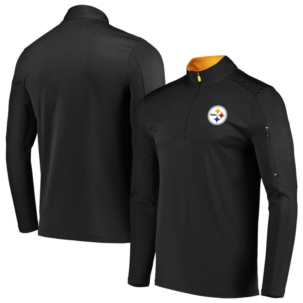 PITTSBURGH STEELERS Men's Ultra Streak Half Zip Pullover - BLACK