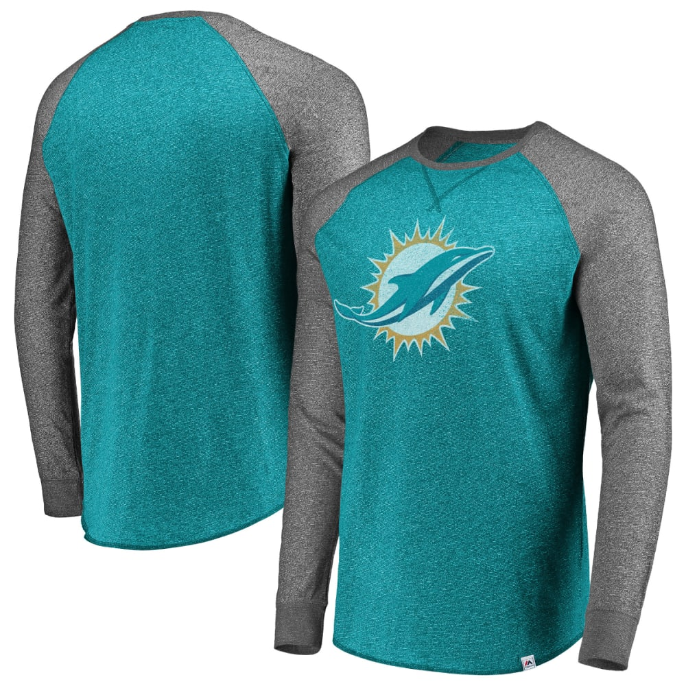 MIAMI DOLPHINS Men's Static Raglan Long-Sleeve Tee XXL