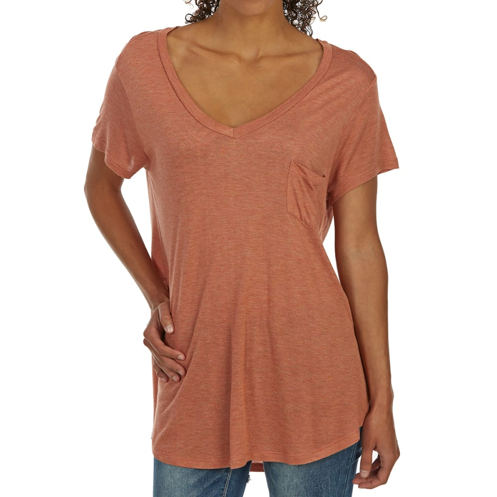 TRESICS FEMME Women's Basic Pocket Rayon V-Neck Short-Sleeve Tee S