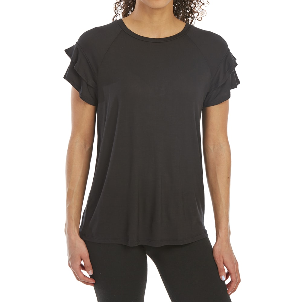 TRESICS FEMME Women's French Terry Ruffle Short-Sleeve Tee - BLACK