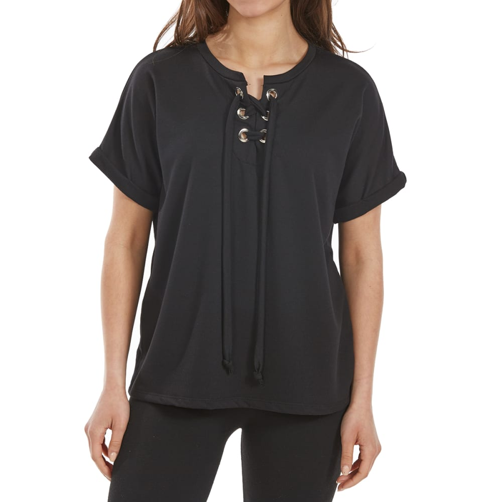 TRESICS FEMME Women's French Terry Lace-Up Short-Sleeve Top - BLACK