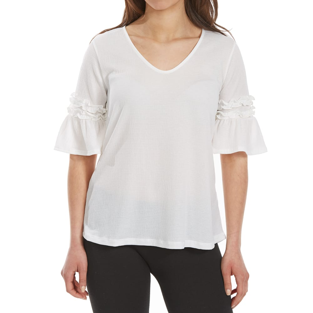 TRESICS FEMME Women's Knit Gauze Ruffle V-Neck Short-Sleeve Top - IVORY