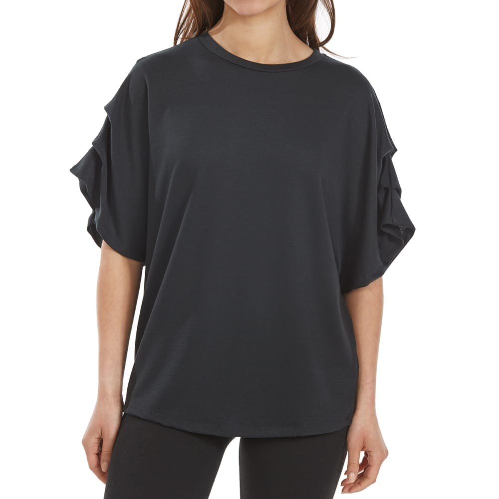 TRESICS FEMME Women's French Terry Slub Dolman Short-Sleeve Top - BLACK