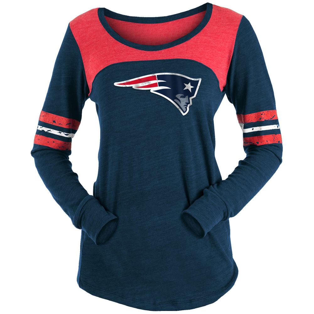 NEW ENGLAND PATRIOTS Women's Tri-Blend Back Print Scoop-Neck Long-Sleeve Tee - NAVY