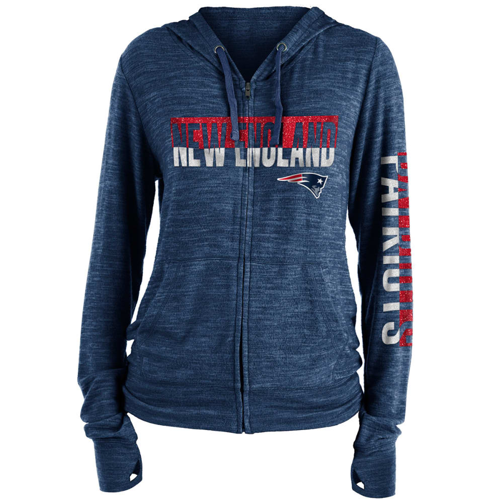NEW ENGLAND PATRIOTS Women's Space-Dye Brushed Sweater Knit Full-Zip Hoodie - NAVY