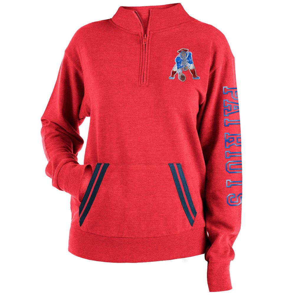 NEW ENGLAND PATRIOTS Women's Tri-Blend Half Zip Pullover - RED