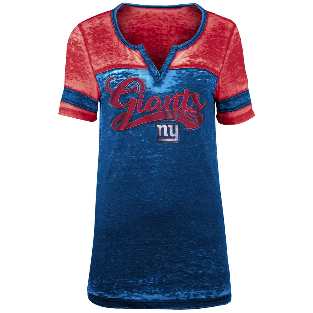 NEW YORK GIANTS Women's Burnout Foil Logo Split-Neck Short-Sleeve Tee - ROYAL BLUE