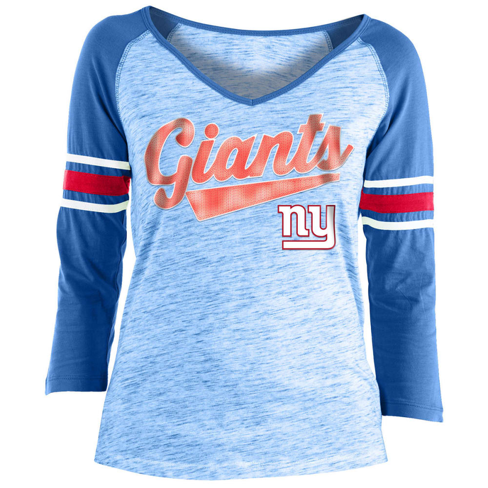 NEW YORK GIANTS Women's Space-Dye Sequin Logo Raglan ¾-Sleeve Tee - ROYAL BLUE