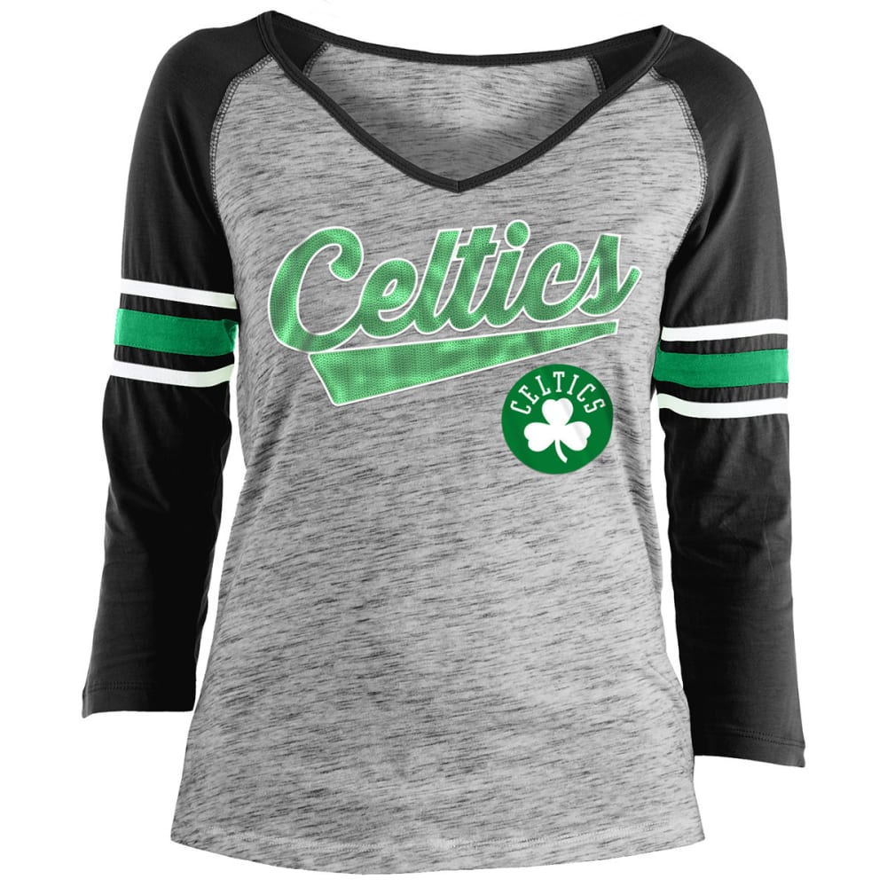BOSTON CELTICS Women's Space-Dye Sequin Logo Raglan ¾-Sleeve Tee - BLACK