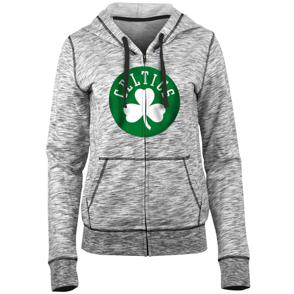 BOSTON CELTICS Women's Space-Dye Full-Zip Fleece Hoodie - BLACK