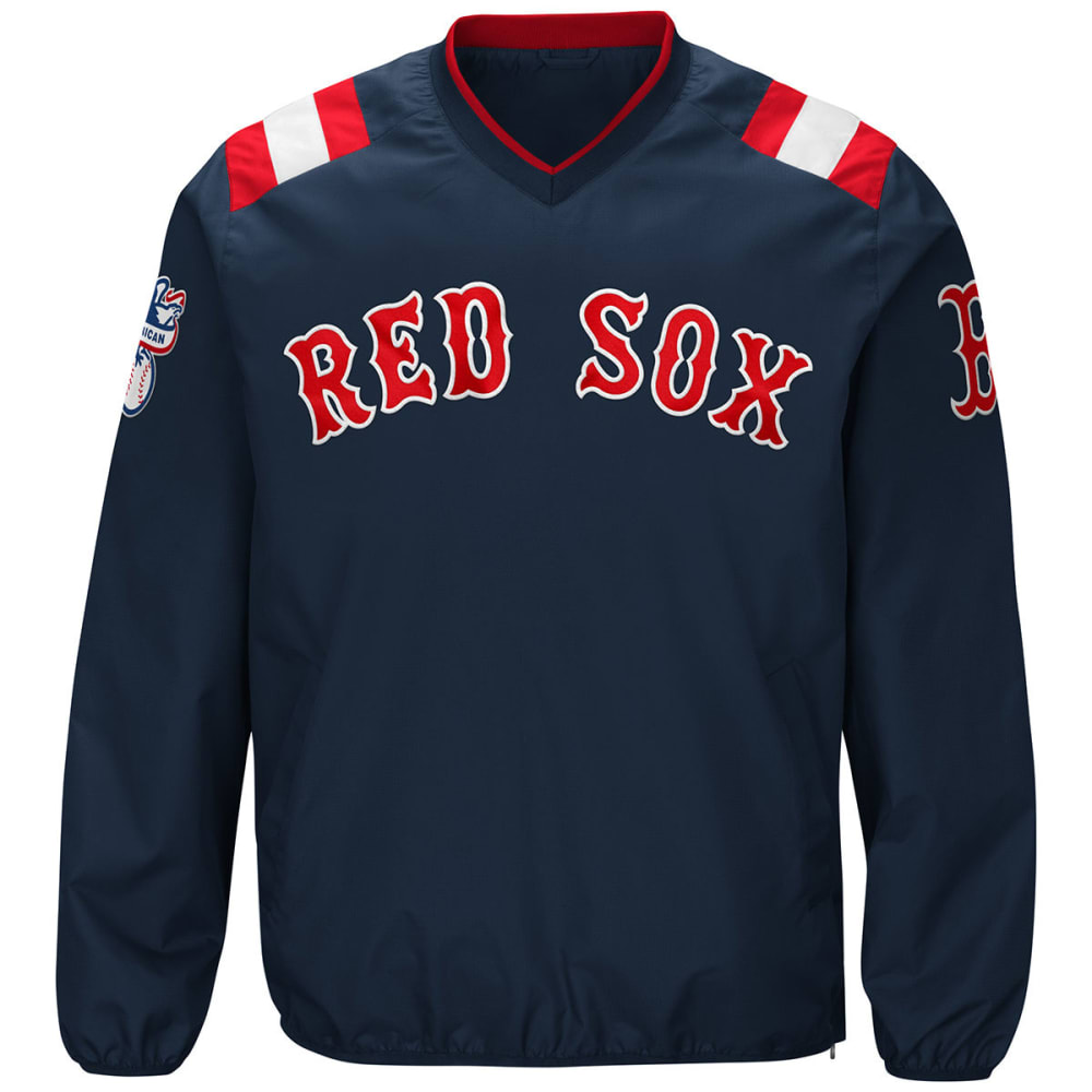 BOSTON RED SOX Men's Count Back V-Neck Pullover Jacket - NAVY