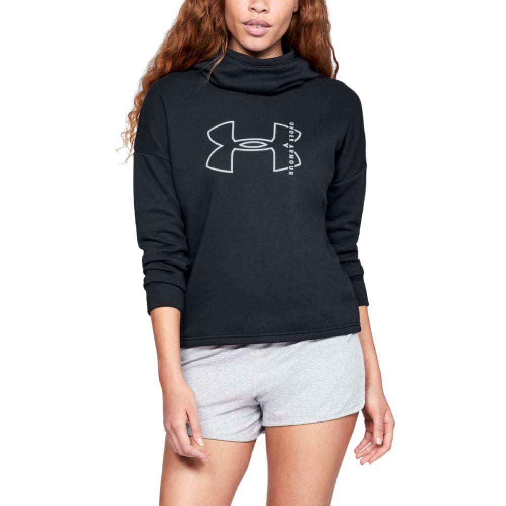 UNDER ARMOUR Women's UA Cotton Big Logo Pullover Hoodie - BLK/WHT-002