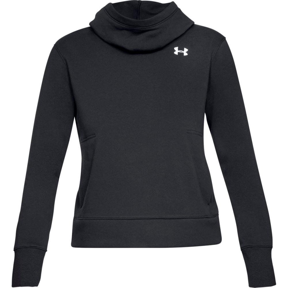 UNDER ARMOUR Women's UA Cotton Fleece Logo Pullover Hoodie - BLK/WHT-001