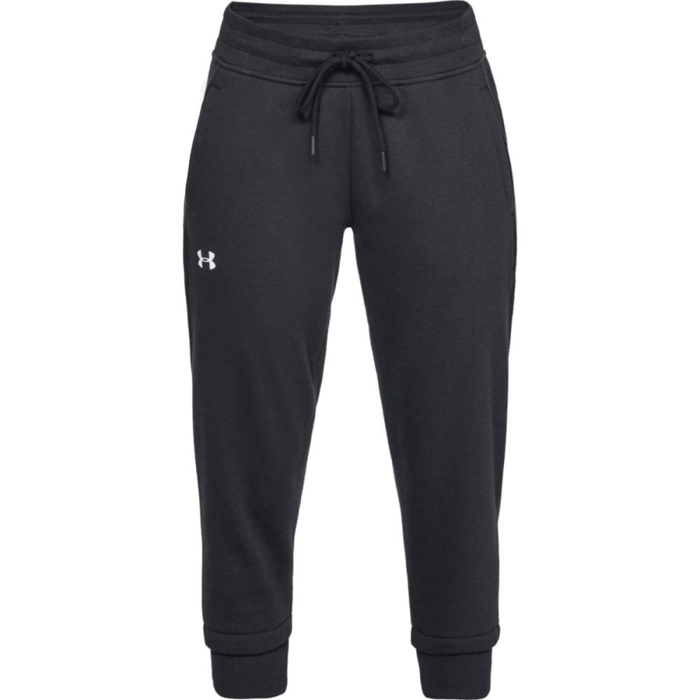 UNDER ARMOUR Women's UA Slim Leg Fleece Crop Jogger Pants - BLK/GREY-001