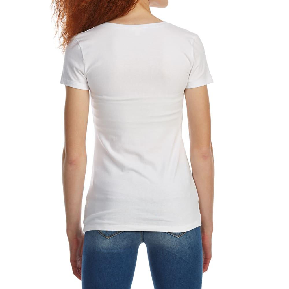 ZENANA Juniors' Basic V-Neck Short-Sleeve Tee - WHITE