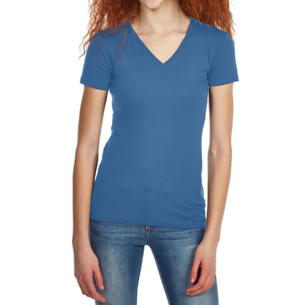 ZENANA Juniors' Basic V-Neck Short-Sleeve Tee M