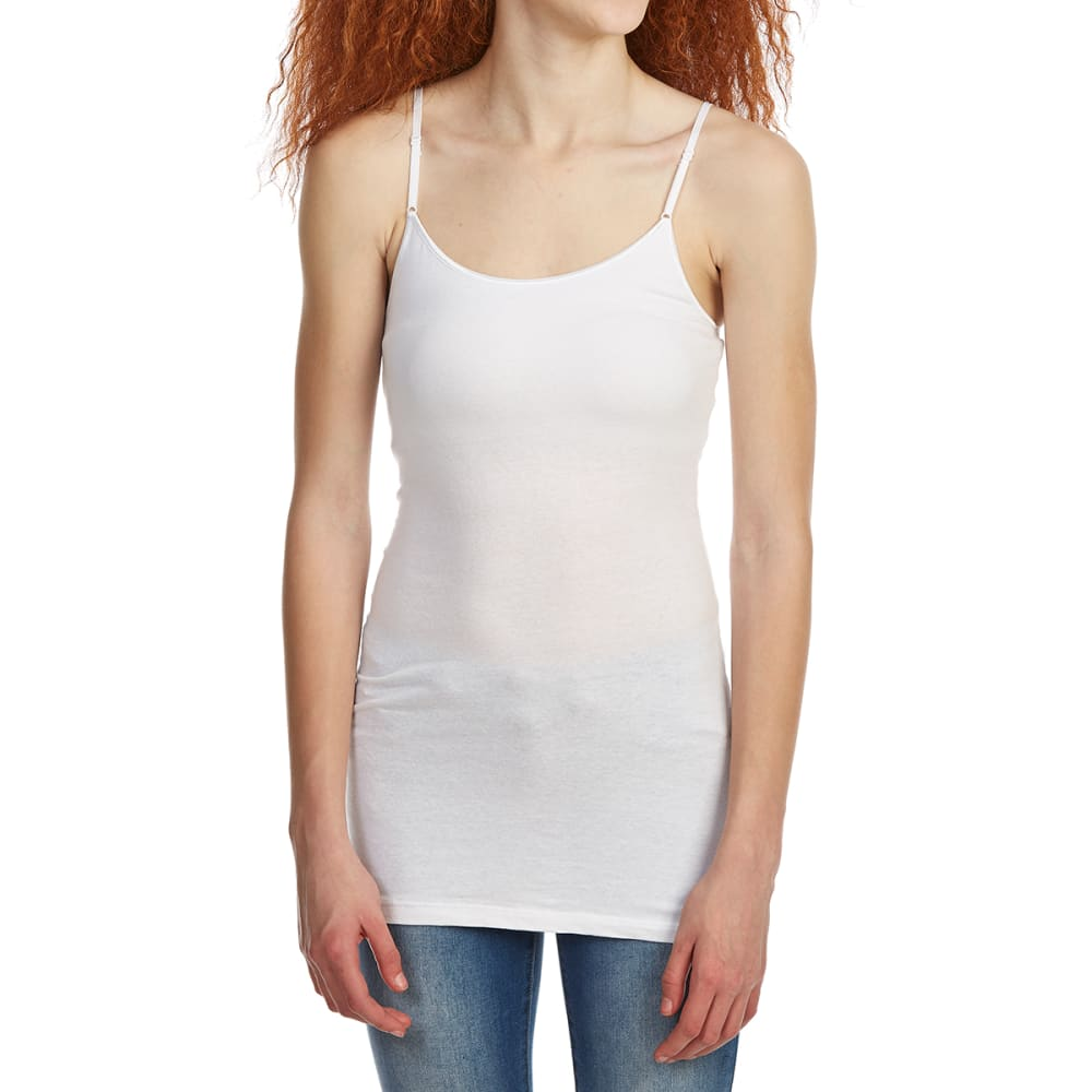 ZENANA Juniors' Long Line Cami Tank Top with Built-In Bra - WHITE