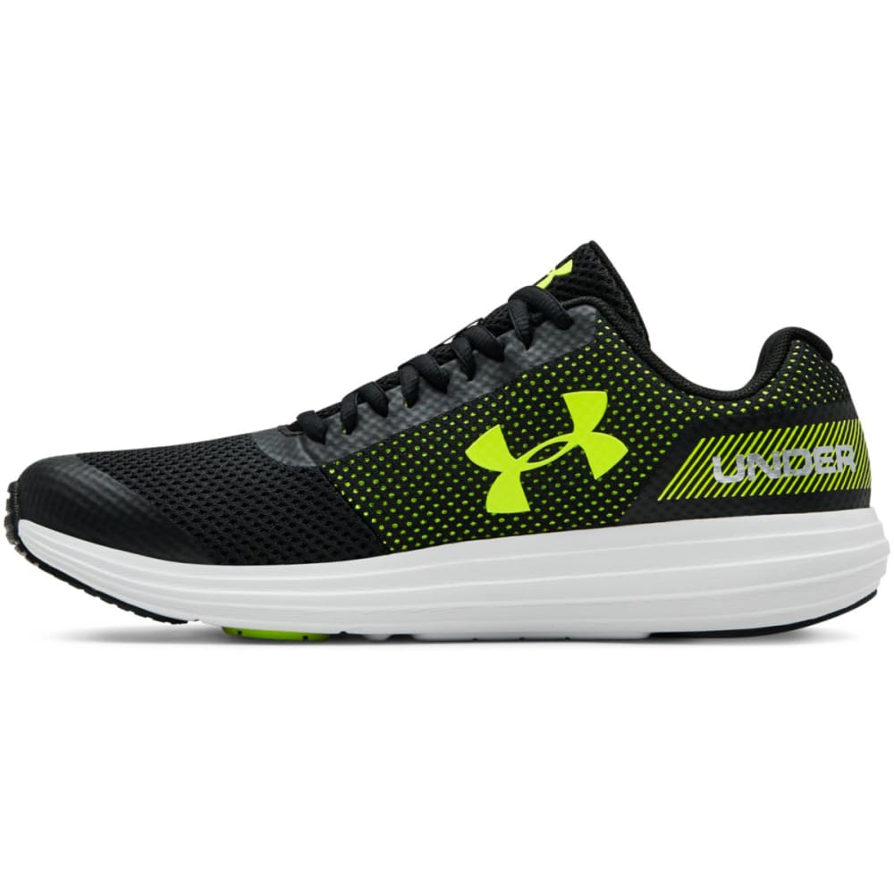 UNDER ARMOUR Big Boys' Grade School UA Surge Running Shoes - BLACK/WHT/YELLOW-003