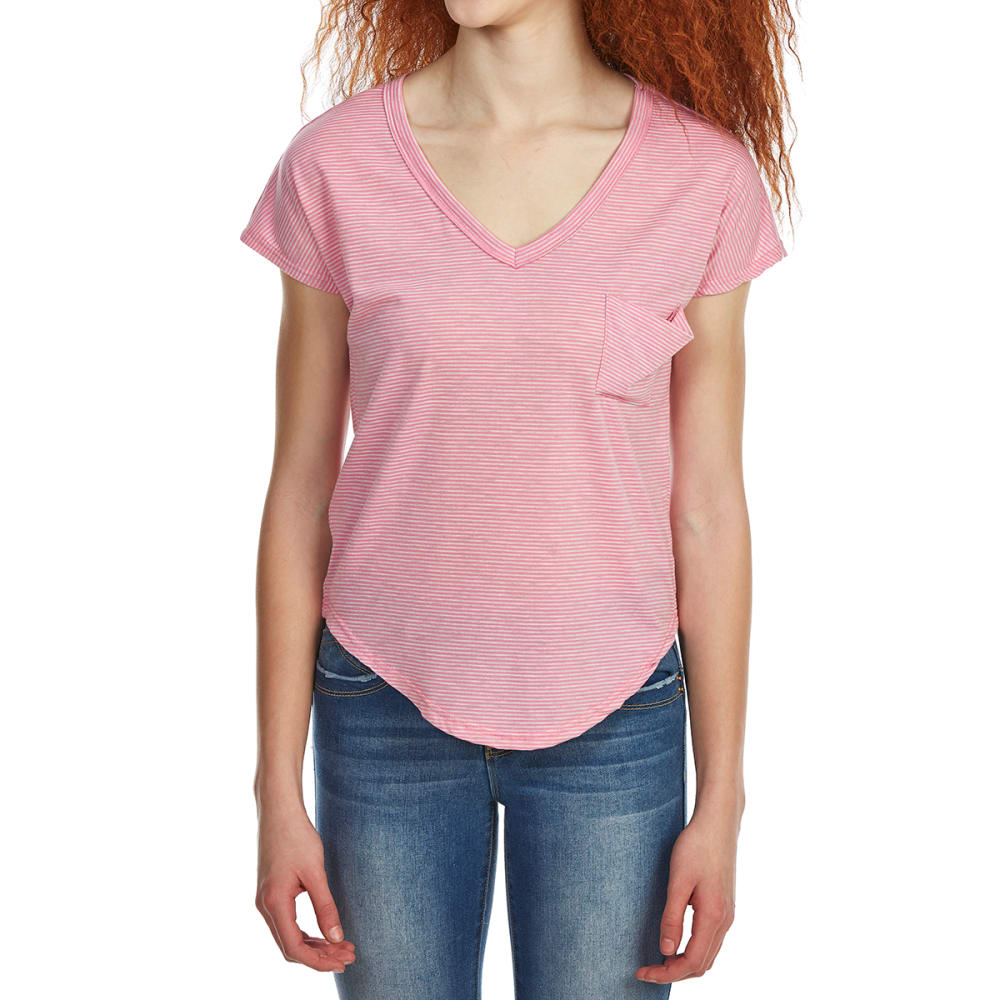 POOF Juniors' Micro Stripe Deep V-Neck Slouch Short-Sleeve Tee with Back Detailing - HOT PINK/WHITE