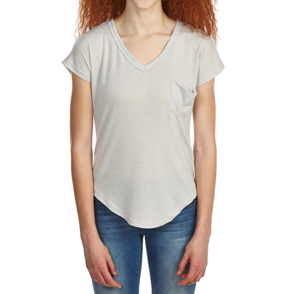 POOF Juniors' Deep V-Neck Slouch Pocket Short-Sleeve Tee with Back Detailing - CONCRETE GREY/EGGWHI