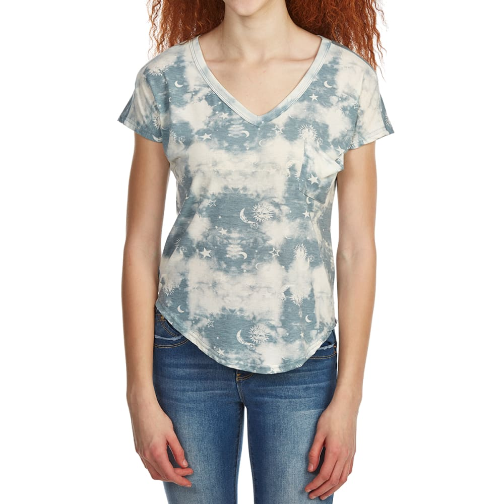 POOF Juniors' Celestial Print Deep V-Neck Slouch Short-Sleeve Tee with Back Detailing - BLUE DAWN/IVORY