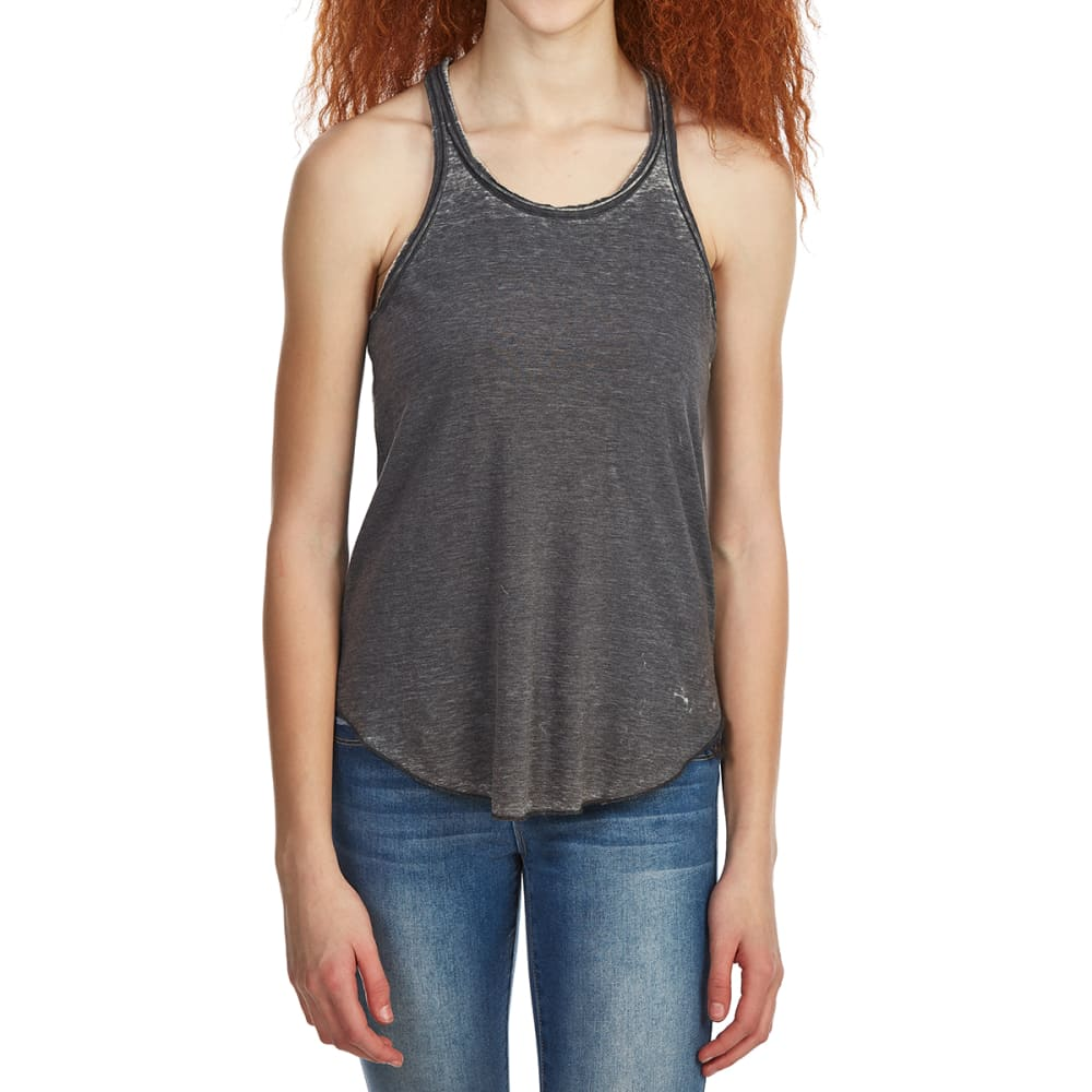 POOF Juniors' Acid Wash Racerback Tank Top - GREY MOON