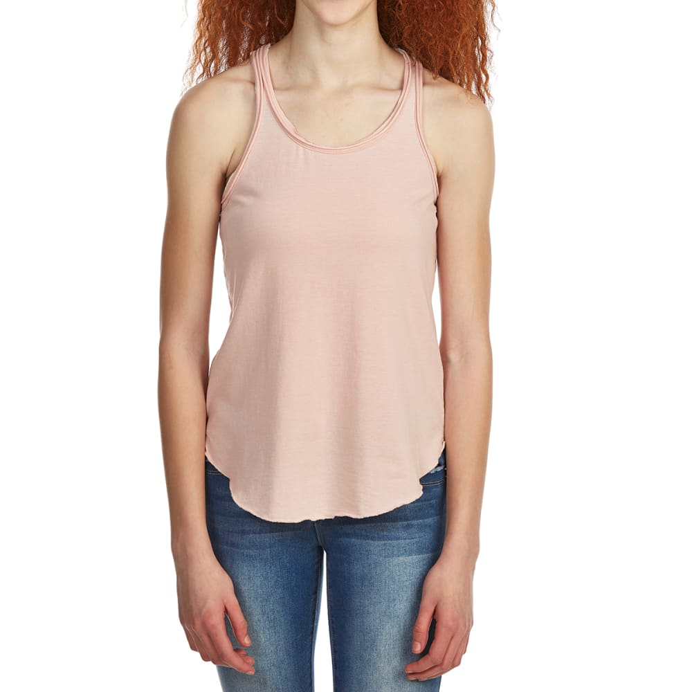 POOF Juniors' Acid Wash Racerback Tank Top - PINK SAND