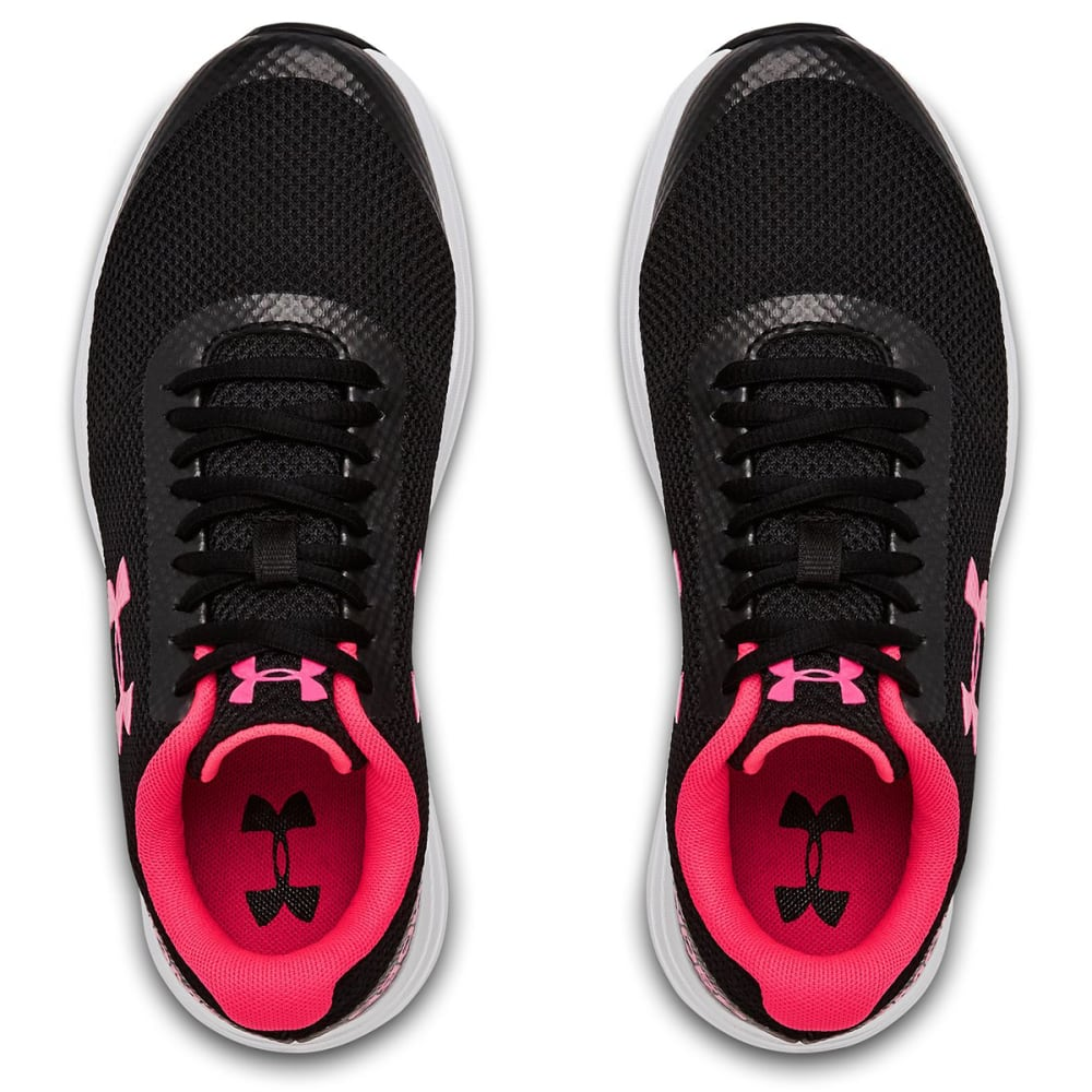 UNDER ARMOUR Big Girls' Grade School UA Surge Running Shoes - BLACK/WHT/PINK-002