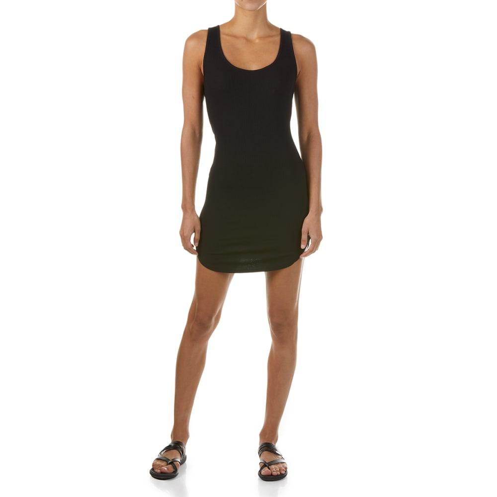 AMBIANCE Juniors' Sleeveless Shirttail Dress - BLACK